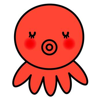 章魚(紅色和眼睛關閉)