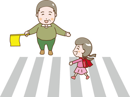 A girl crossing a pedestrian crossing and a man of a flag