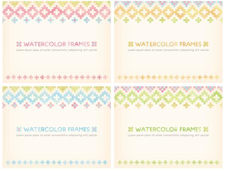 수채화 터치의 화려한 프레임 4 색 세트