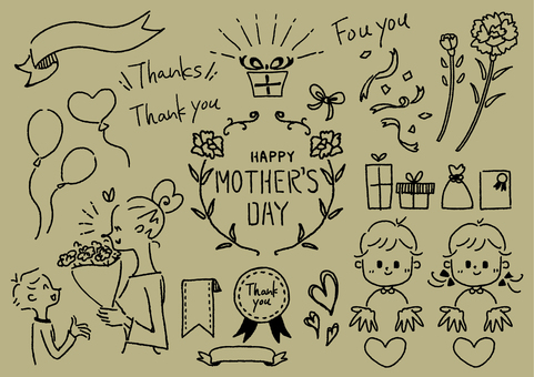 Mother's Day handwritten illustration 1 color