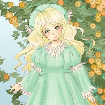 A girl in a green dress