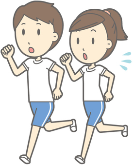 Gym suit clothing man and woman - running - whole body