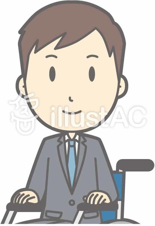 スーツ男性C-車椅子笑顔-バストのイラスト