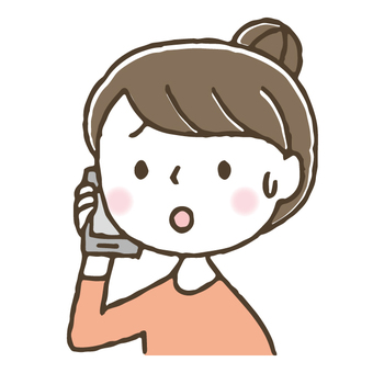Cute woman making a phone call with a smartphone / Hand drawn
