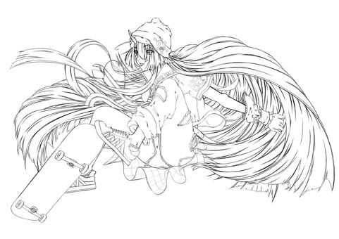 Maki Kashima, skateboard (line drawing)