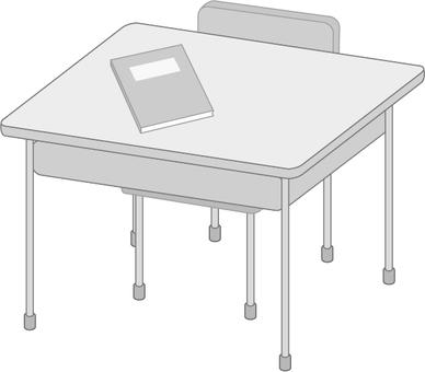 School desk and chair (monochrome)