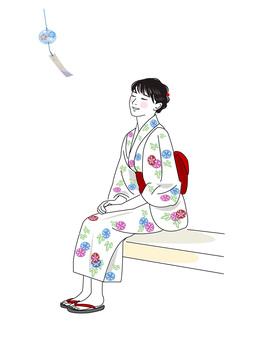 Summer yukata and wind bells