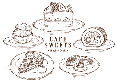 Cake and other hand drawn
