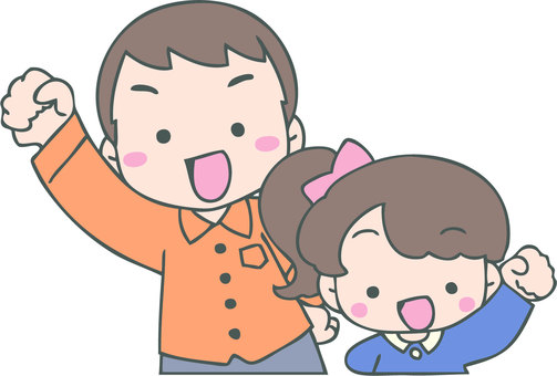 Cheerful parent and child (father and girl)