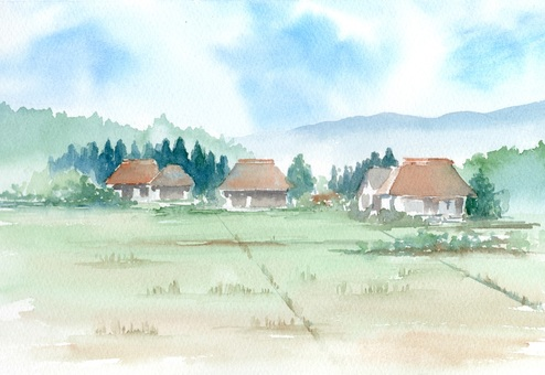 Country landscape painted with transparent watercolor