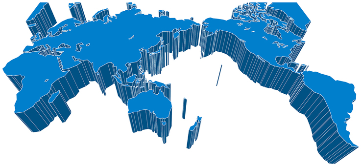 Mirror projection world map-3D diagonal
