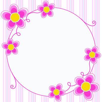 분홍색 꽃과 스트라이프