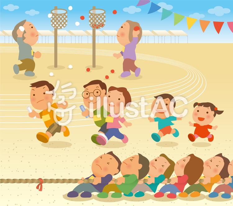 地域の体育祭セットのイラスト