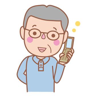 Phone with mobile (grandpa)