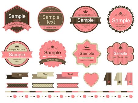 Various pink retro labels
