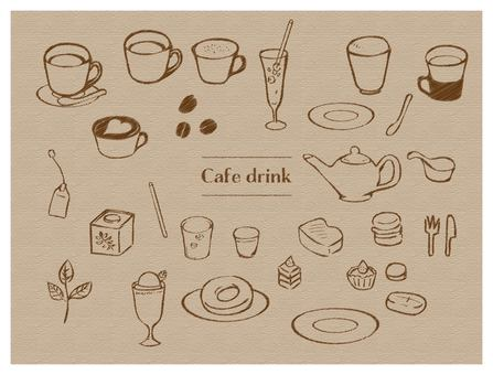 Hand drawn style drink & food set line Black pencil style