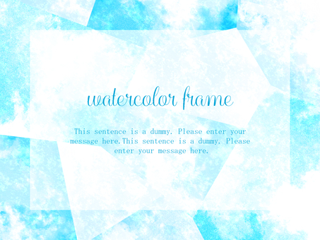 Watercolor style frame 01 / blue