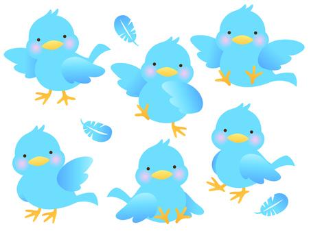 青い小鳥と羽根のイラストセット