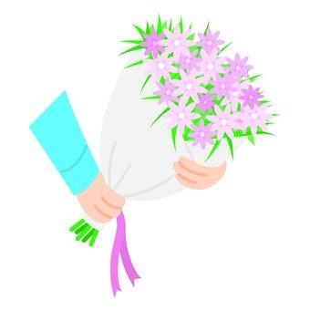 Bouquet presented, pink, rightward
