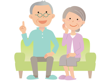 60719. Senior couple, sofa