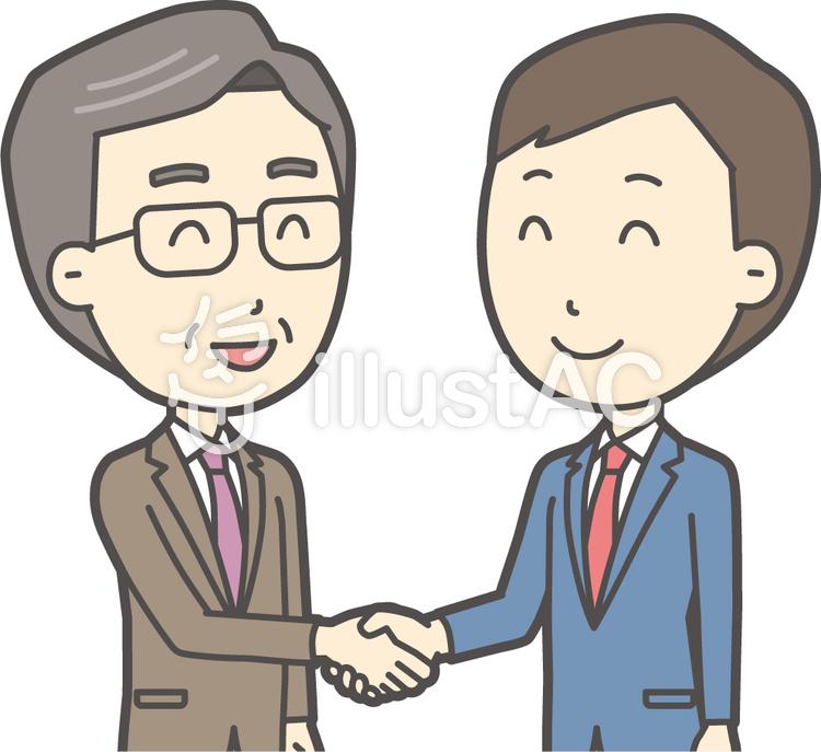 青年スーツ青と握手-009-バストのイラスト