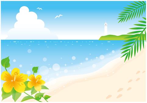 灯塔可见的海滩