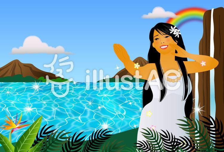 ハワイアンポストカードのイラスト