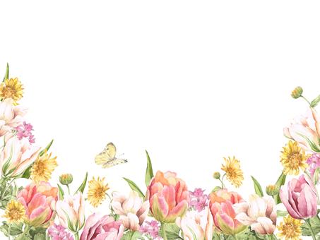 Flower frame 108 - Tulip and yellow flower flower frame