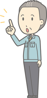 Middle-aged man work clothes - fingers diagonal left - whole body