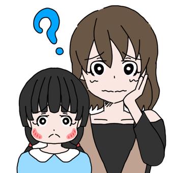 母親和女兒(腮腺炎)