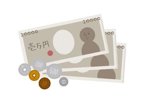 돈 지폐 한 만엔 동전
