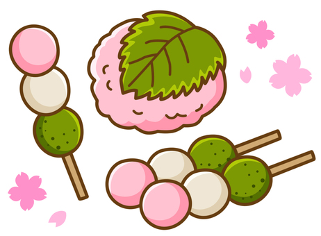 Sakura rice and three color dumplings