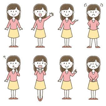 Cute hand drawn women set / whole body