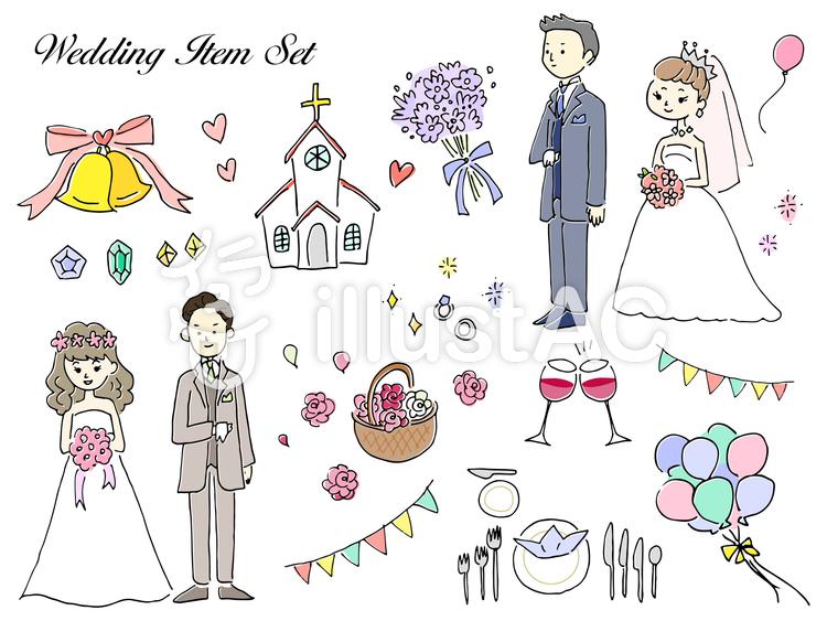 手描き風 結婚式のイラストセットイラスト , No 1404925/無料