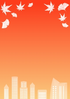 Autumn sky frame · cityscape and fallen leaves · vertical