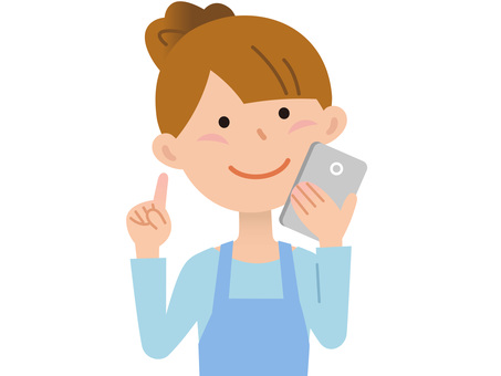 60410. Female apron, smartphone