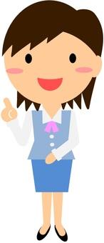 파란색 제복을 입은 여성 직장인의 일러스트 1