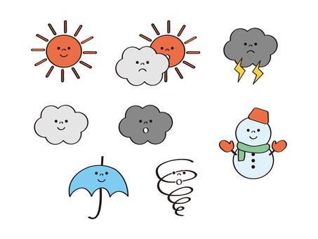 날씨 _ 미소 _ 맑은 _ 흐림 _ 우산 _ 눈사람