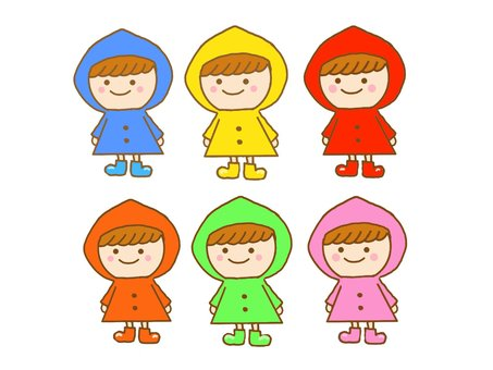 Children wearing raincoats ♪