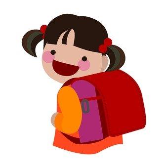 Girls carrying a school bag