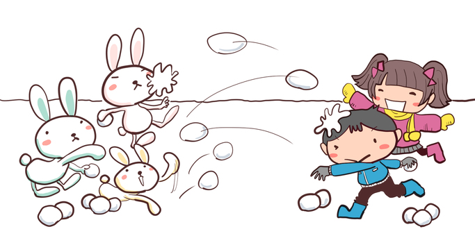 Boy and girl fighting snowball with rabbit team