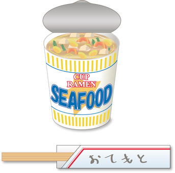 Cup noodles with seafood _ disposable chopsticks