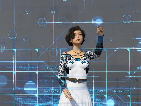 Futuristic electronic brain world digital area and female