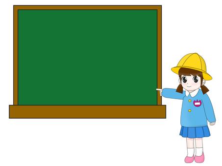 Girls to explain on the blackboard