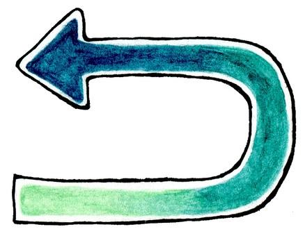 Blue green watercolor arrow