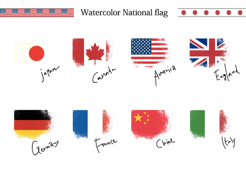 Handwritten-style national flag Watercolor illustration