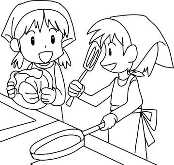 Cooking practice (drawing)