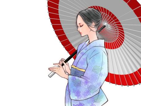 和傘と着物美人(紫陽花柄)
