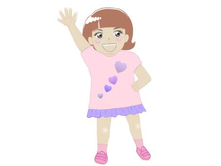 Cute little girl raising one hand