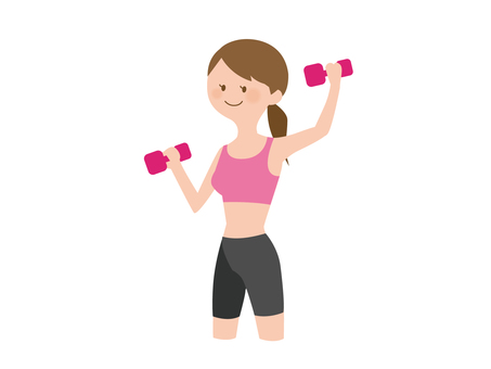 A woman using a dumbbell